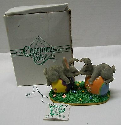 Bunny Rabbit Easter Egg Two Bunnys Touching Noses Charming Tails with Box