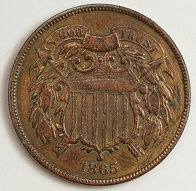 """1865 Two Cents.  """"Fancy """" """"5 in 1865""""  High Grade.  103175"""