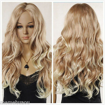Sexy Women's Long Blonde Mixed Wavy Curly Natural Hair Full wigs + wig gift
