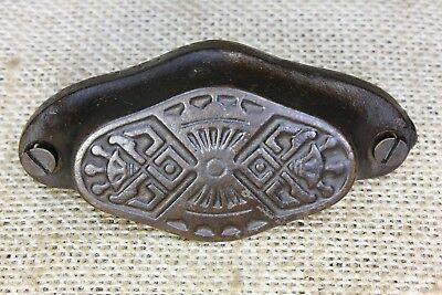 "old Bin Drawer Pull handle 3 1/4"" cast iron vintage 1880's Eastlake decorations"
