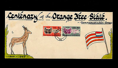 South Africa 1954 Orange Fre State Hand Drawn First Day Cover & Johannesburg Cds