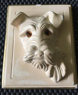 Vintage Fox Terrier Scotty Dog 3D Small Plaster Wall Plaque