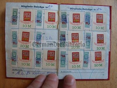 lc99) 3x East German membership books with due stamps same man DDR FDGB GDR
