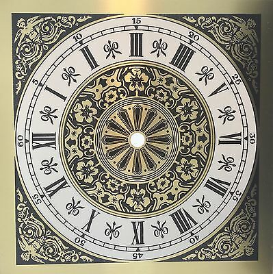 "Clock Dial Roman Numerals Metal 7 7/8"" Square with 6"" Time Ring"