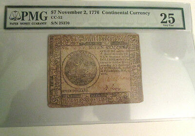$7 Continental Currency Nov.7 1776 Very Rare  Signer Benjamin. Levy Pmg Vf25