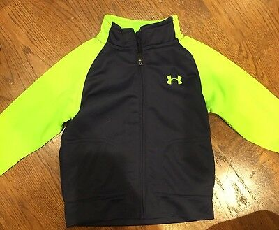 Boys Size 12 Month Under Armour Full Zip Jacket. Navy Blue And Lime Green. EUC