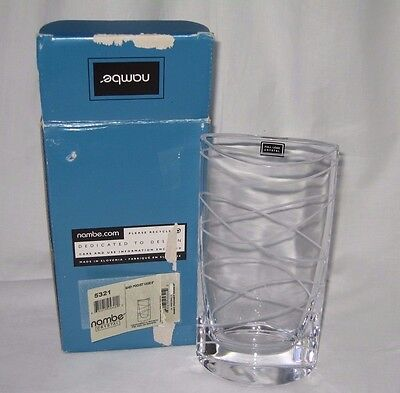 """Motus by Nambe Full Lead Crystal Pocket Vase Gift 5321 Clear 8"""" Tall New In Box"""