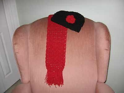 New Hand Crocheted Ladies/Woman Red Scarf and Black Hat with Flower Set