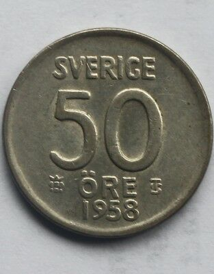 High Grade Swedish silver 50 Ore coin - 1958 - about mint