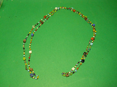 Vintage Estate Jewlery Multi-Color Art Glass & Brass Bead Necklace Lot P5A