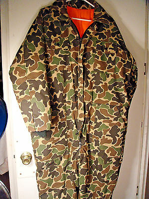Mens Reversible Insulated hunting coveralls,Camo / Blaze Orange Med / Large