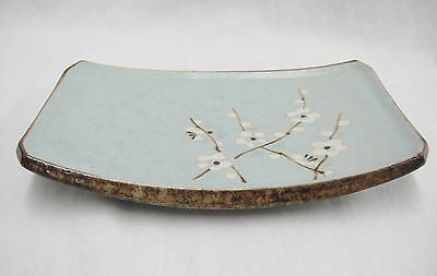 Stoneware Asian Curved Dish Tray Blue with Cherry Blossoms 5x7