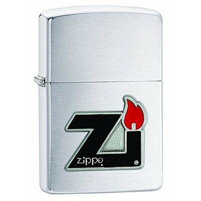 Zippo Windproof Pewter Flame Emblem Brushed Lighter Silver  Brand New
