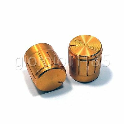 10pcs Aluminum Hi-Fi CD Volume Tone Control Potentiometer Knob 6mm Golden