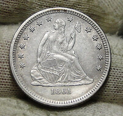 1861 25C Liberty Seated Quarter, Nice Coin, Free Shipping (5705)