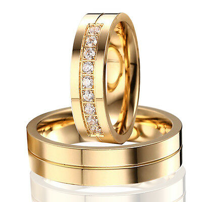 18K Gold Plated Couple Ring Men/Women Lovers CZ Titanium Steel Wedding Band 5-12