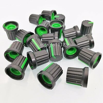 20pcs Plastic Hi-Fi CD Volume Tone Control Potentiometer Knob 6mm Black Green
