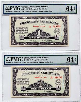 2x CONSECUTIVE SERIAL NUMBER 1936 Alberta Prosperity Certificates CH Unc 64