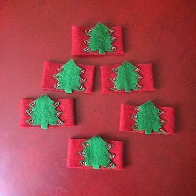 Vintage Christmas Napkin Rings Lot of 6 Red & Green Sequin Tree - Excellent Set