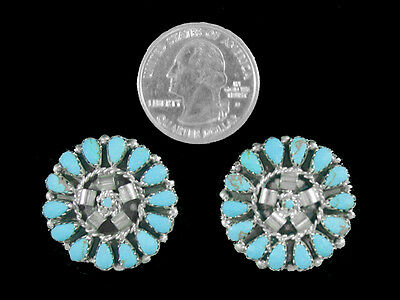 Two Navajo Buttons Turquoise Kingman Sterling Silver Native American Indian