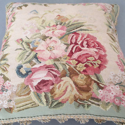 """Antique 19thC FRENCH Aubusson 18"""" PILLOW Wool Tapestry ROSES Flowers DOWN Filled"""