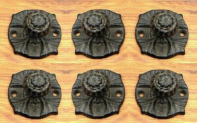 """Vintage Cast Iron Drawer Pull Knob w/ Base (Set of Six) 2 1/4"""" wide 0184S-0062"""