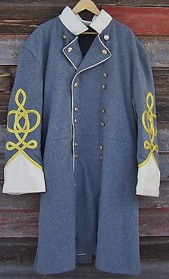 civil war confederate frock coat with 4 row braids with pleats 48