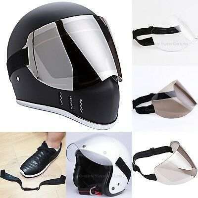 Flip Up 3-Snap Helmet Shield Bubble Visor Optical Mirror Chrome PC Face Mask