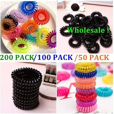 200/100/50 Women Ladies Girls Elastic Rubber Telephone Wire Hair Ties Hair Band