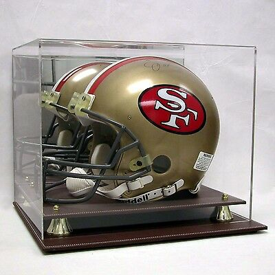 Full Size NFL Football Helmet Deluxe Acrylic Leather Base Display Case AS0318