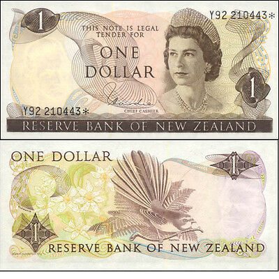 New Zealand LastQE2 $1 Y92 224137* Hardie Star Replacement Banknote Issue p163dr