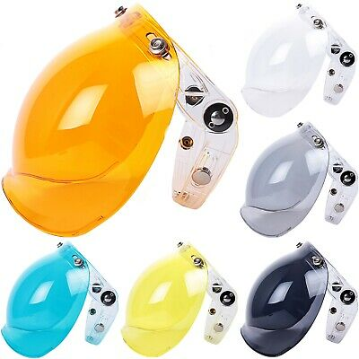 Flip Up 3-Snap Bubble Shield Helmets Visor Optical Plain Colors PC Face Mask