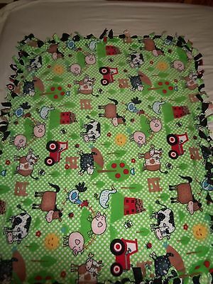 Whimsical Farmer In The Dell  Hand Tied Double Sided Fleece Blanket~New