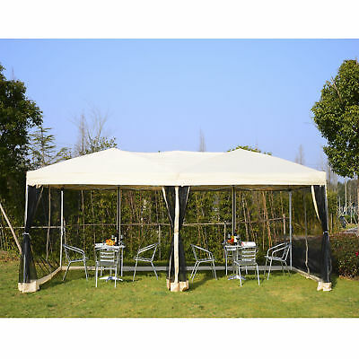 Outsunny 9.8' x 19.7' Pop-Up Party Tent Gazebo Outdoor Canopy w/ Mesh Waterproof
