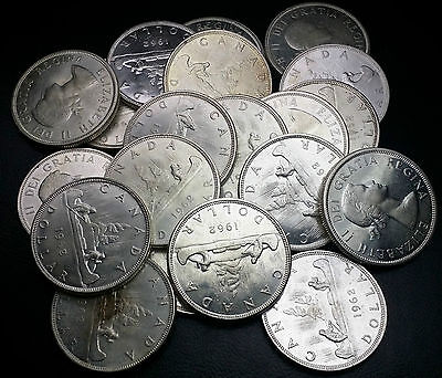 Roll of 20 Brilliant UNC 1962 Canada Silver $1 Dollars ***GREAT INVESTMENT***