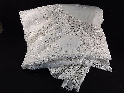Vintage 60s White Filet Crochet Embroidered Linen 170cm Round Table Cloth Unused