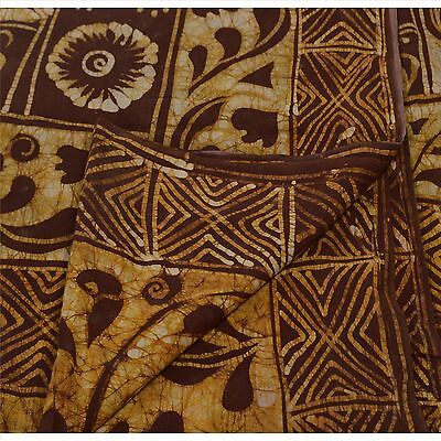 Antique Vintage Printed Saree 100% Pure Cotton Craft Fabric Brown Batik Sari