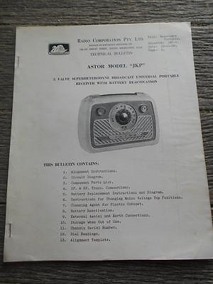 Old Radio Corporation Astor JKP 5 valve portable radio receiver battery bulletin