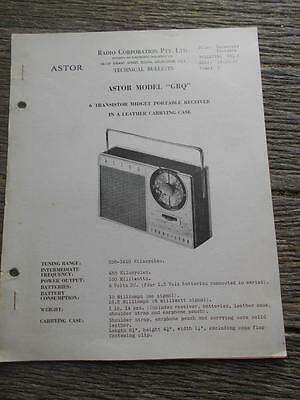 Old Radio Corporation Astor GRQ 6 transistor portable radio receiver bulletin