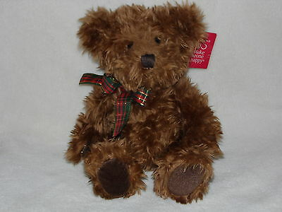 With Tag Russ Berrie Chutney Teddy Bear Soft Toy Brown Red Green Neck Ribbon