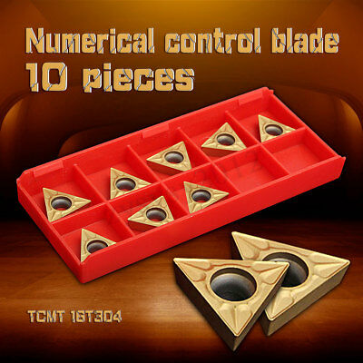 10Pcs Gold Tungsten Steel Carbide Inserts Blade TCMT 16T304 Cutter Turning Tool