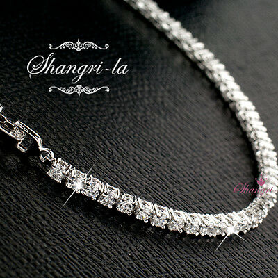 9K White GOLD SILVER TENNIS Bridal BRACELET Made with SWAROVSKI DIAMOND EX701