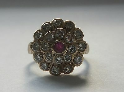 Vintage 18ct Yellow Gold 1Ct Diamond & Ruby Cluster Ring