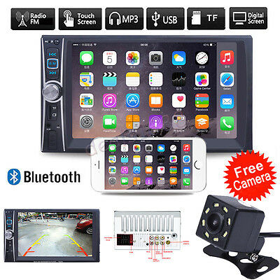 7'' HD Touch 2DIN Car Radio Stereo MP3 MP5 Player Bluetooth AUX/GPS/USB +Camera