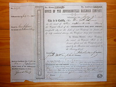 RR: 1855 !!! Jeffersonville Railroad, Indiana, div. Shares*