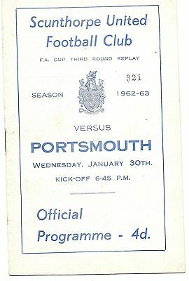 Scunthorpe United v Portsmouth 1962/63 FA Cup Replay 30th Jan (Postponed)