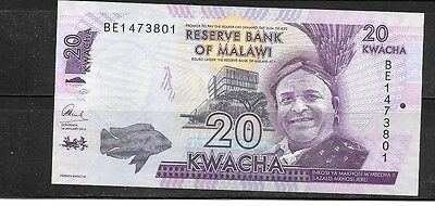 Malawi #57 2016 Unc Mint New 20 Kwacha Currency Banknote Bill Note Paper Money