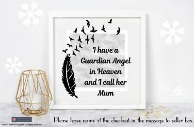 Vinyl Decal for Memory Box Frame I HAVE A GUARDIAN ANGEL IN HEAVEN /add name