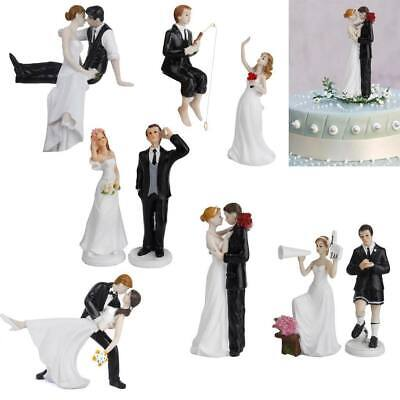 Romantic Cute and Funny Synthetic Resin Bride & Groom Wedding Cake Topper Decor