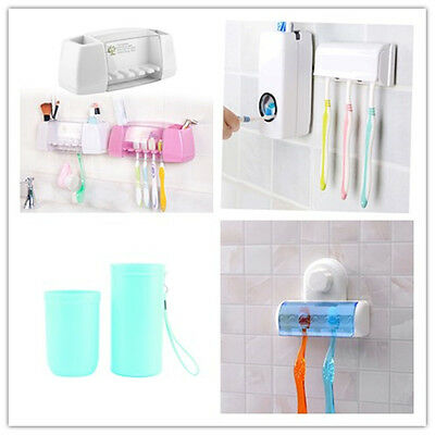 Bathroom Suction Toothbrush Wall Mount Toothpaste Dispenser Stand Holder Storage